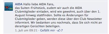 AIDA Antwort Facebook