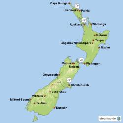 Mit StepMap erstellte Karte von Neuseeland