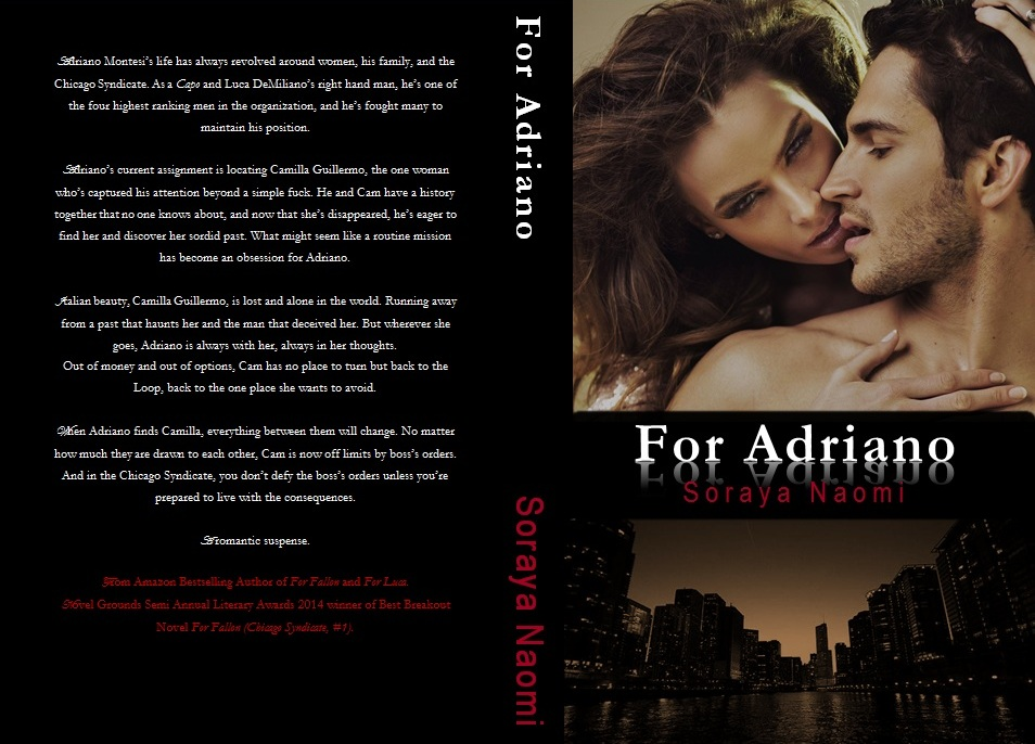 COVER REVEAL: FOR ADRIANO (Chicago Syndicate, #3) by Soraya Naomi