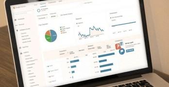 Google Analytics running on a laptop.