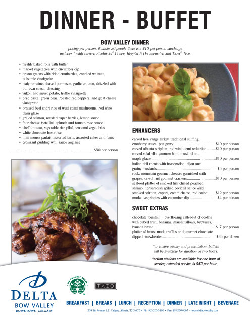 Delta Bow Valley Catering Menu
