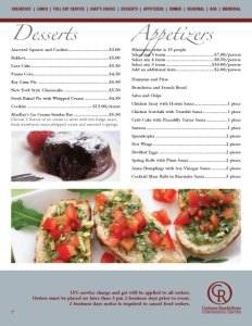 Cochrane RancheHouse Catering Menu