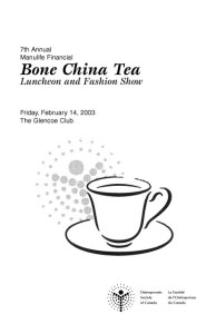 Bone China Tea Program and Menu