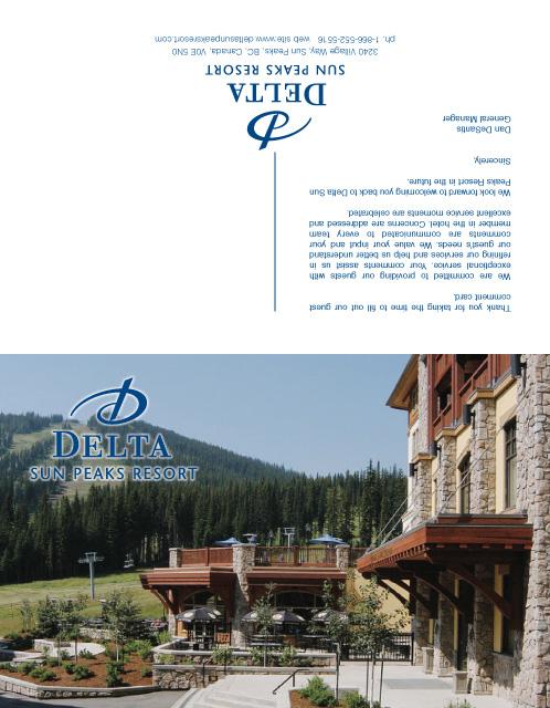 Delta Sun Peaks Resort Guest Card