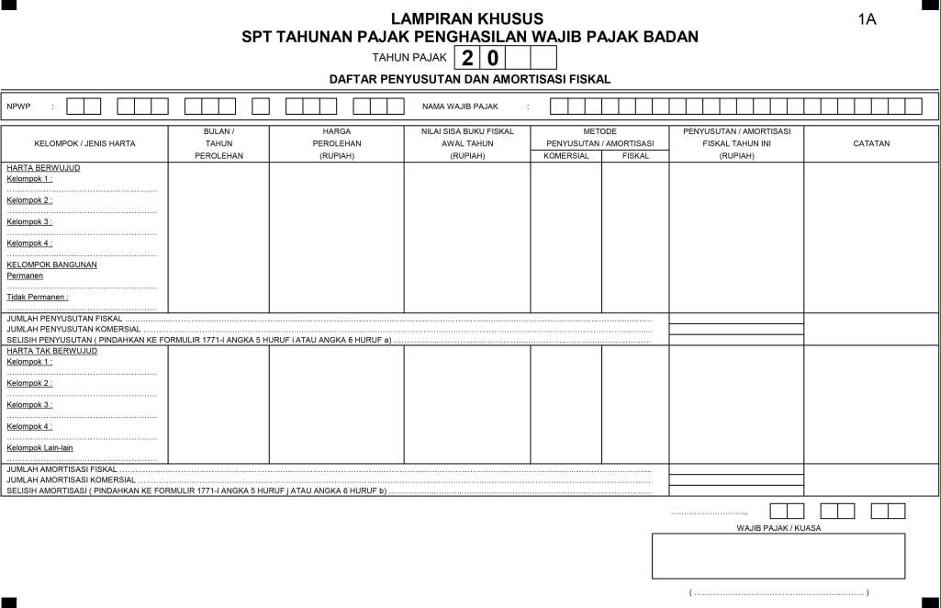 Formulir Daftar Penyusutan Dan Amortisasi Fiskal