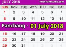Panchang 01 July 2018