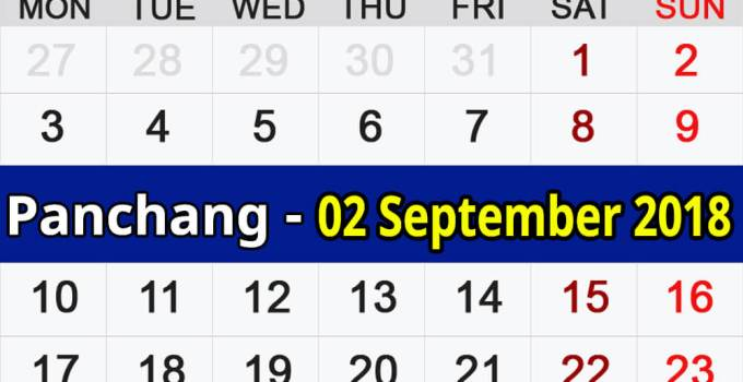 Panchang 02 September 2018