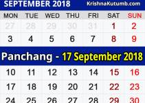 Panchang 17 September 2018