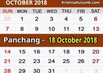 Panchang 18 October 2018
