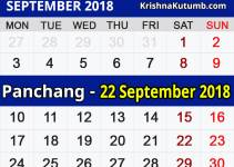 Panchang 22 September 2018
