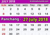 Panchang 27 July 2018