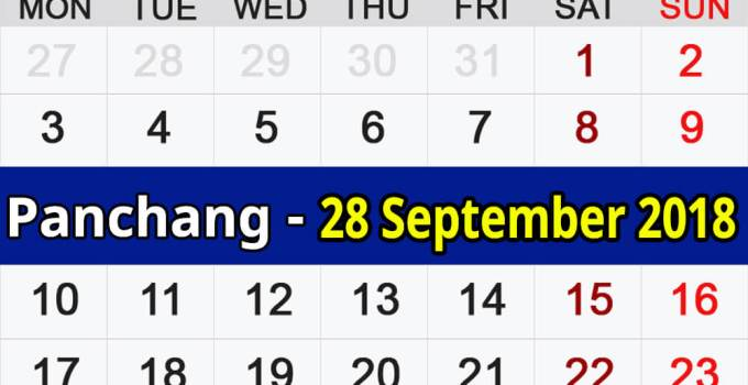 Panchang 28 September 2018