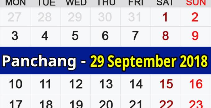 Panchang 29 September 2018
