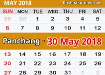 Panchang 30 May 2018
