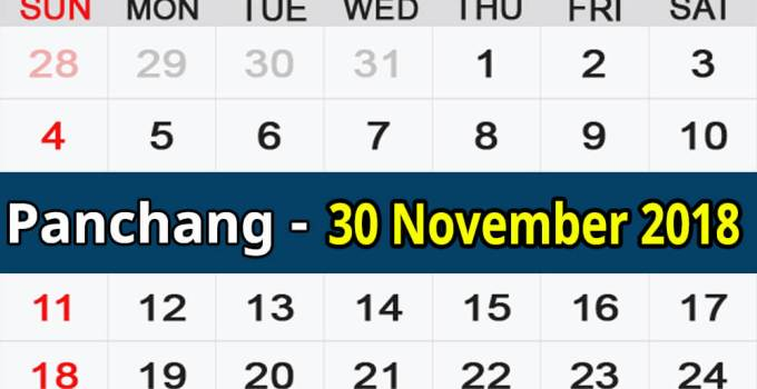 Panchang 30 November 2018