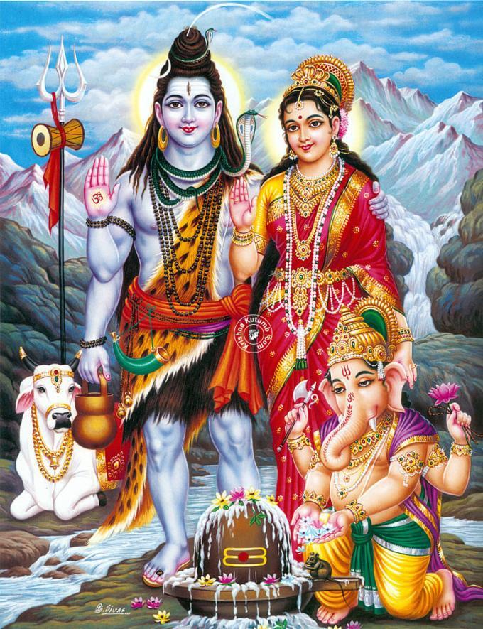 Shiva Parvati Ganesha Nandi - Very High Quality - Krishna Kutumb