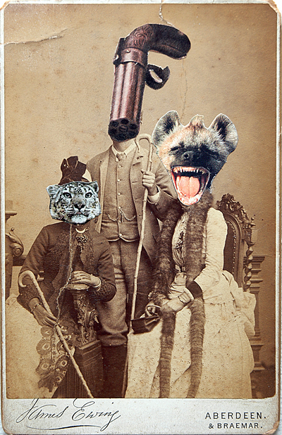 Happy Family, Collage on antique photograph, 2011