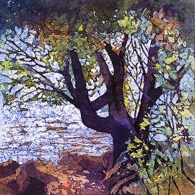 Water's Edge - Watercolor Batik painting