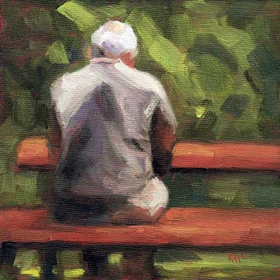 Afternoon at the Park - Small daily oil