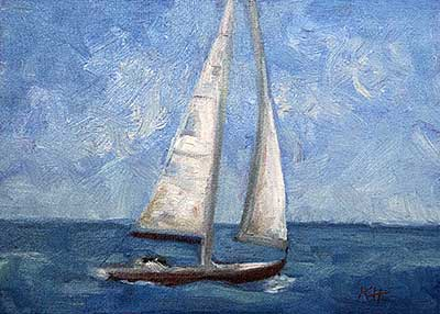 "Sailing Away 5x7"" oil by Krista Hasson"