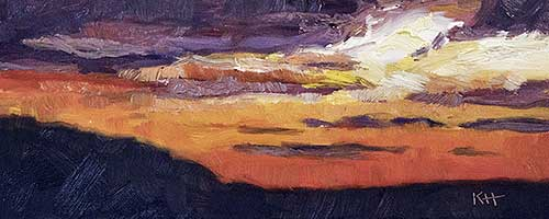 "Sunset 4x10"" oil by Krista Hasson"
