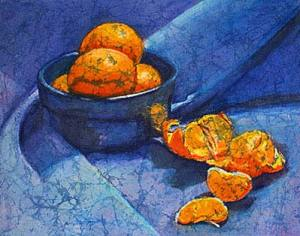 Clementines watercolor batik painting