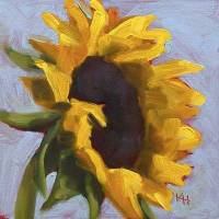 Sunflower #5 - small daily oil painting by Krista Hasson