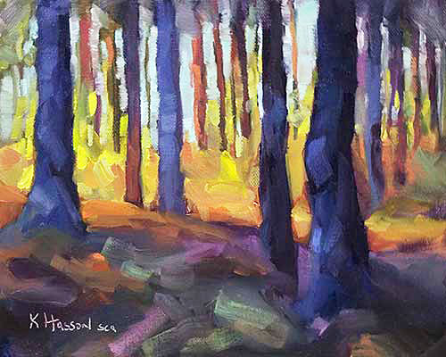 awe-inspiring light through the trees in the forest oil painting by Krista Hasson