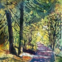 Through the Shadows 2 - watercolor batik on rice paper by artist Krista Hasson
