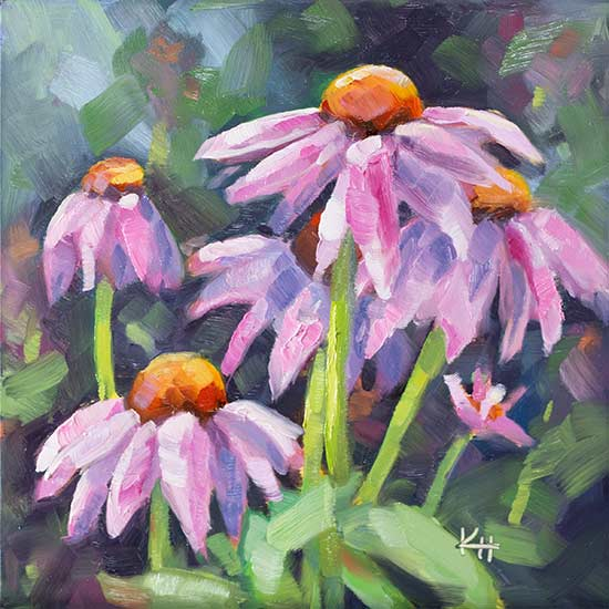 Pink Cone Flowers oil daily painting by Krista Hasson