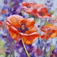 Poppies and Lupines oil painting by Krista Hasson