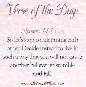 Verse of the Day – Romans 14:13