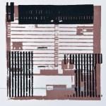Krista Svalbonas - Spakenberg 2, blacksmith powder and copper photo-serigraph on mylar, 9x9, 2013