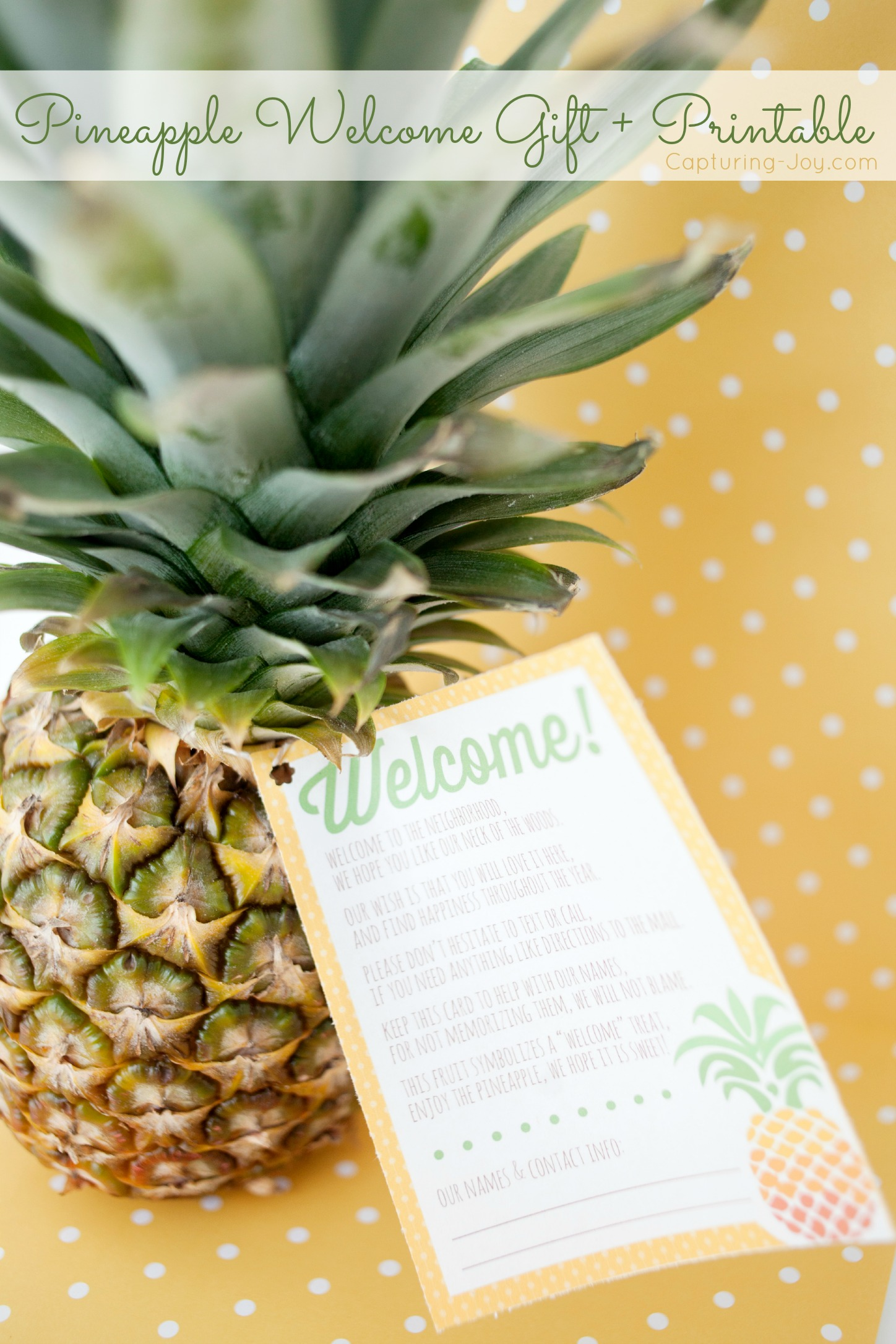 Welcome To The Neighborhood Pineapple Gift Printable