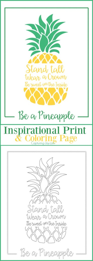 Be A Pineapple Inspirational Print And Coloring Page Capturing Joy With Kristen Duke