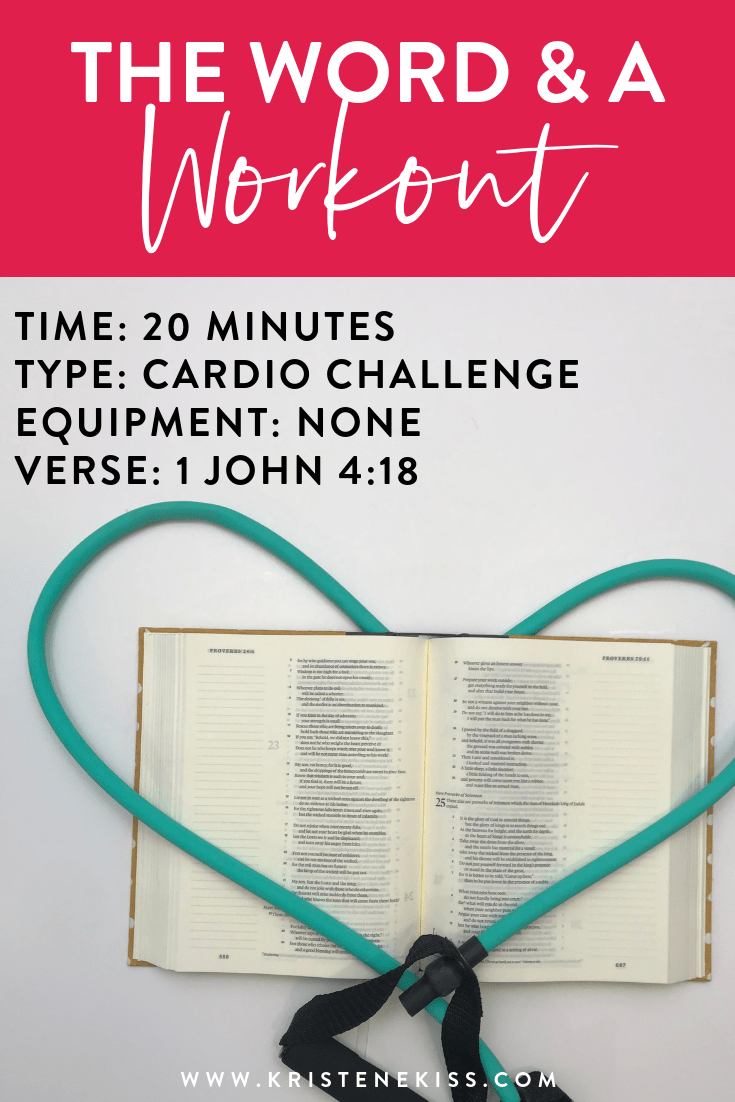 The Word and a Workout | Join me for a 20 minute cardio challenge for all fitness levels. No equipment is needed for this workout. #faithandfitness #fitness #exercise #weightloss