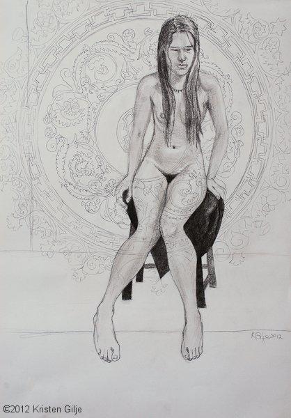 "©2012 Kristen Gilje ""Youth"" 24x18, graphite"