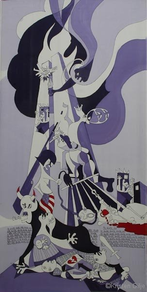 Kristen Gilje, Abu Graib and the Twin Towers: A Lesson from Picasso, hand painted silk, 20049 ft x 55 in.,