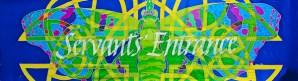 "©Kristen Gilje ""Servants' Entrance"" hand painted silk, 28x94 inches."