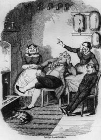 Regency Era Servants: One of George Cruikshank's chariactures of the servant class.