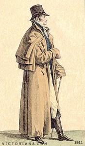 Regency Era Men's Fashion: Great coat with capes, circa 1811