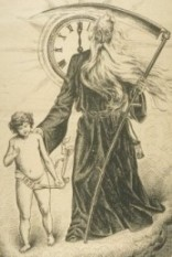 Christmastide: A pen & ink drawing of Father Time and Baby New Year.