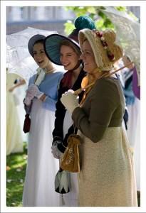 A photo of three Regency ladies.