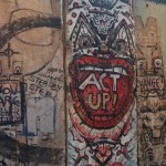 Photo of several sections of the Berlin Wall on display at the Newseum in Washington, D.C.