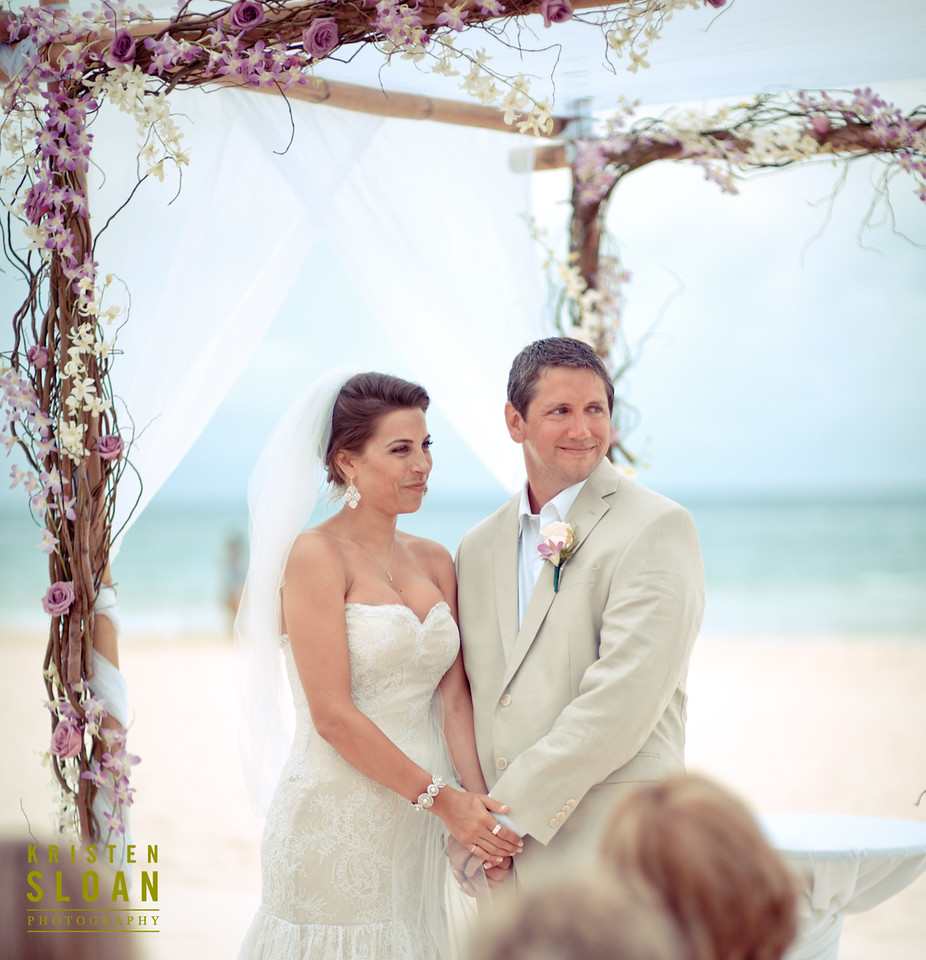 beach wedding ceremony mexico bride groom