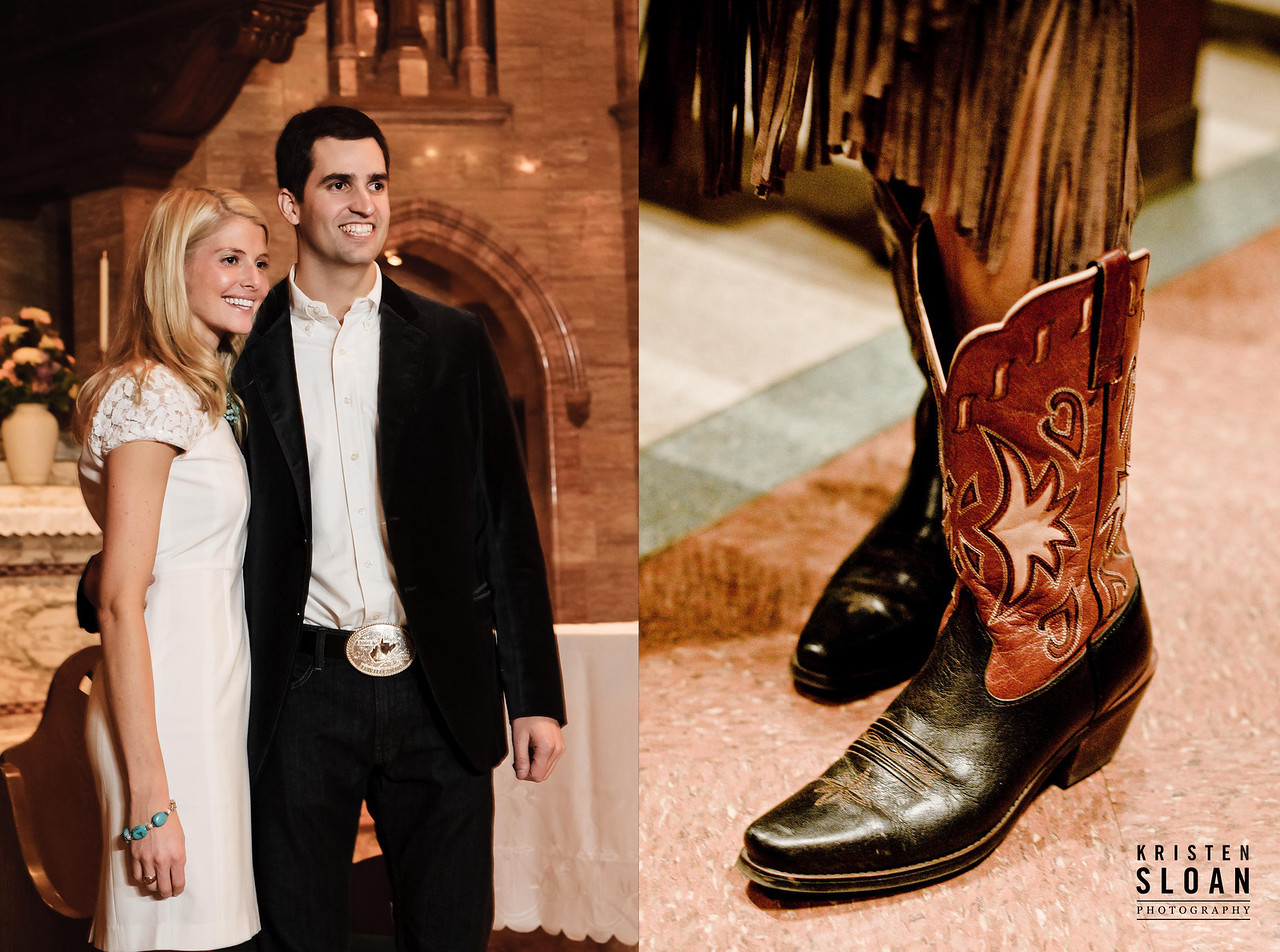 Western Theme Wedding Cowboy Boots Holy Ghost Church Denver Colorado