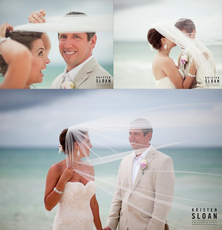 mexico beach wedding bride and groom