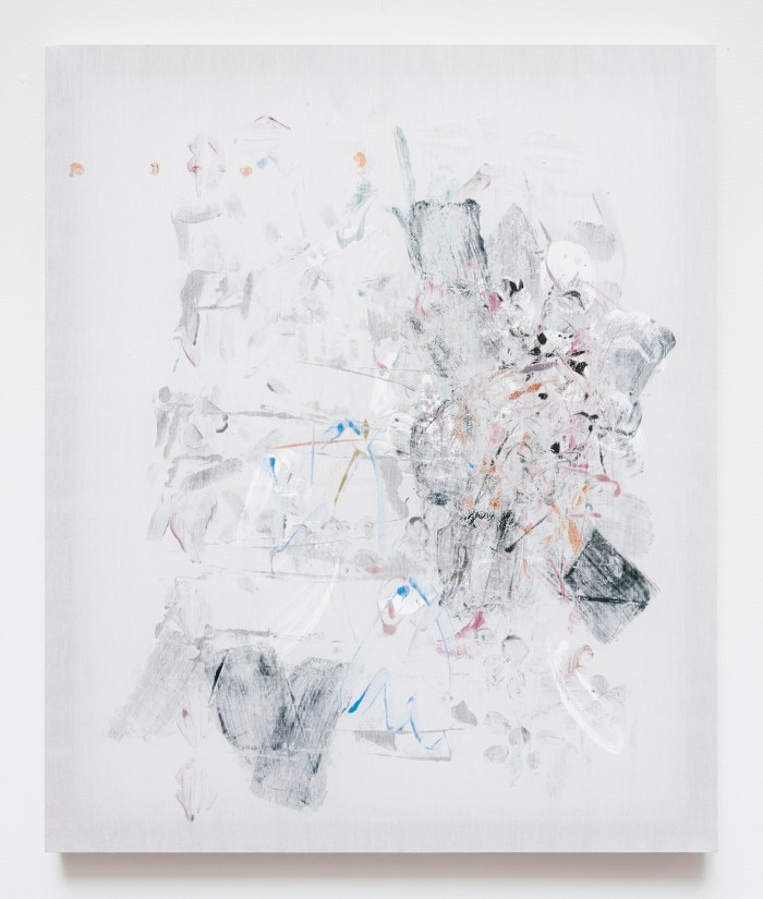 Veriest Frump, 2015, acrylic on silk, 24 x 20 inches