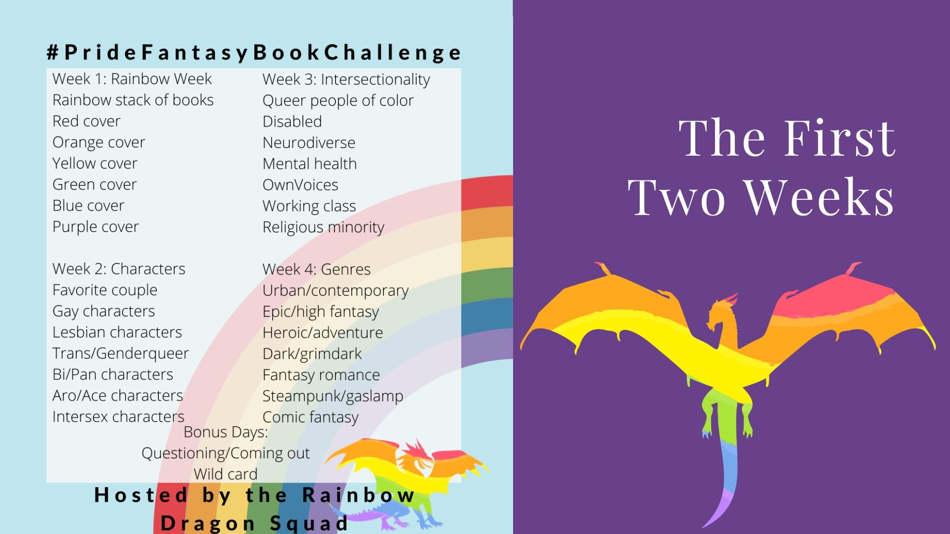First Two Weeks of the Pride Fantasy Book Challenge