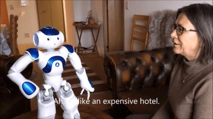 Kristiina asks robot about Tokyo restaurant